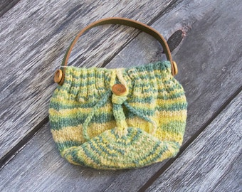 Button Up Purse~Handbag~Knit Handbag