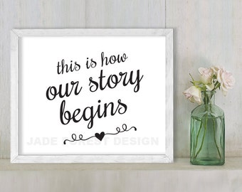 This Is How Our Story Begins // Wedding Sign DIY // Elegant Calligraphy Printable Poster PDF // Classic Elegance ▷ Instant Download