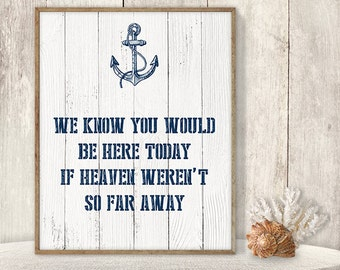 We Know You Would Be Here Today If Heaven Weren't So Far Away // Wedding In Memory Sign DIY // Nautical Printable PDF▷ Instant Download