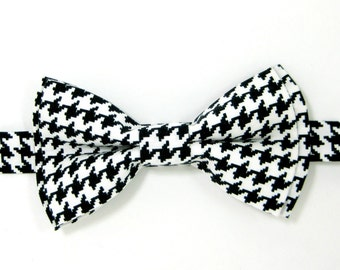 Black and white houndstooth bow tie, Black and white bow Tie,Wedding bow tie for Men,Toddlers ,Boys