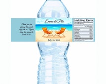 "Hammock Chairs Personalized Wedding Water Bottle Labels - Select the quantity you need below in the ""Pricing & Quantity"" option tab"