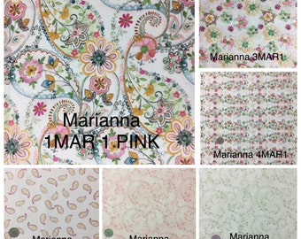 Marianna by In The Beginning Paisley and Floral fabrics in Pinks and Greens