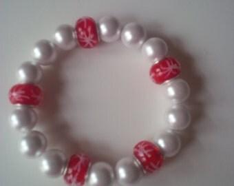 Beaded Red & White Bracelet   (#125)