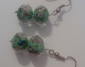 Green Beaded Earrings  (#219)