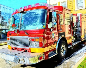 Fire Engine Photography, Fire Truck Photo, Red Fire Truck, Red Fire Engine