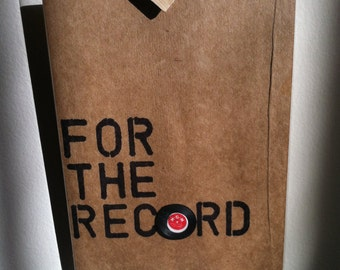 FOR THE RECORD card - blank, note, love letter, message, for him, for her