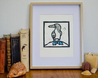Linocut bird lino print, original art, booby linoleum print, beach house art