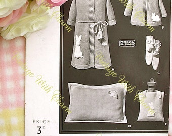 Vintage 1930s Knitting Pattern 'Nursery Comforts' With Rabbit Motif. 9 Stunning Patterns For The Nursery.