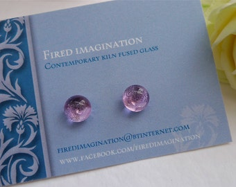 Lilac sparkle fused glass studs