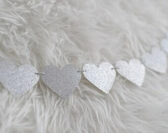 Silver Glitter Heart Garland - Bridal Shower Decor - Baby Shower Decor - Wedding Decor