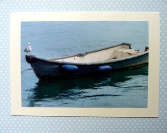 """Gull on Small Boat in Cornish Harbour Large Photo Card 7""""x 5"""" Blank"""