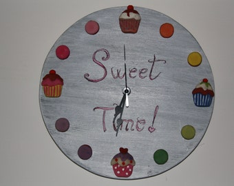 Wall clock with pastries