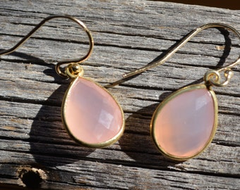 Pink Chalcedony Earrings, Teardrop Earrings, Quartz Jewelry, Quartz Earring, Boho Style Earrings