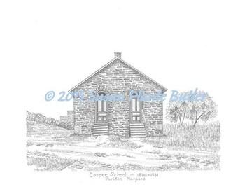 One room school house - Cooper School 1860, Parkton, Maryland, 11 x 14, signed, b /w pen & ink print