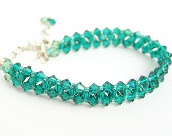 Swarovski bracelet, Swarovski xilion bicone bead tennis bracelet, Sterling silver and crystal tennis bracelet, sparkly bracelet