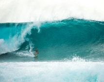 Aqua Surf Decor, Pipeline Waves, Teal Beach Photography, Hawaiian Decor, Surf Wall Art, North Shore, Ocean Waves, Water Photography