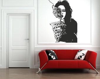 Wall Vinyl Sticker Decals Mural Room Design Pattern Zombie Girl Skeleton Butterfly Woman bo608