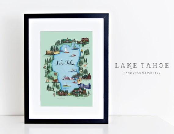 Items similar to lake tahoe map on etsy for Lake tahoe jewelry stores