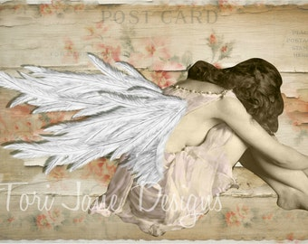 Angel Art, Angel Decor, Angel Painting, Angel Mixed Media, Mixed Media Art, Mixed Media Collage, Vintage Photo Woman, Print, Shabby Chic Art