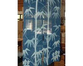 "traditional linen noren, door way curtain. bamboo on blue. (WE11-31) 35""W x 59""L"