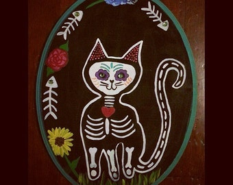 Day of the Dead Kitty painting
