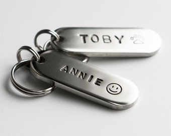 Dog Tag / Pet ID Tag, Fingers Shaped Tag -Silver-, Customized, Personalized, Hand Stamped