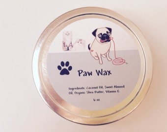 Handmade Paw Wax, Protective Salve for Dogs and Cats,  Pet Balm, for paw pads and noses, organic ointment for animals