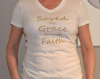 SALE Screenprint gold lettering t-shirt, Saved by grace, women cotton tshirt, white tshirt, fuchsia tshirt, christian tshirt