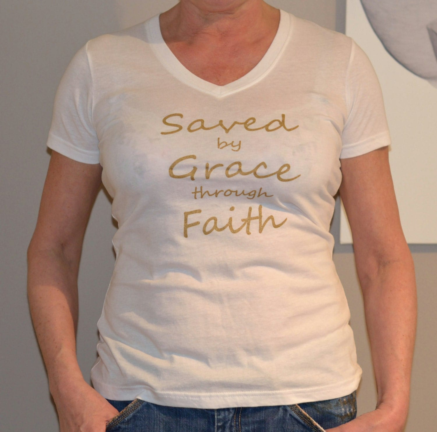 Sale screenprint gold lettering t shirt saved by grace women for Shirt lettering near me