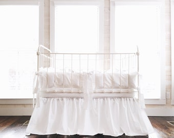 White Crib Bedding Set - Solid White Baby Bedding Set - White Crib Sheet - Farmhouse Nursery Bedding - White Crib Skirt - White Crib Bumpers