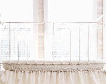Ivory Washed Cotton Fitted Crib Sheet - Ivory Crib Sheet - Fitted Sheet in Ivory