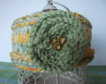 Knit Headband with Snowflower