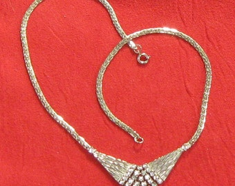 vintage yet contemporary RHINESTONE and HERRINGBONE link NECKLACE wedding prom homecoming