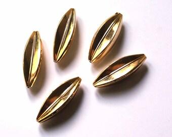 Vintage metalised plastic beads 10x35 mm