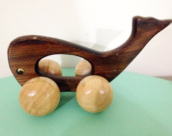 Vintage wooden whale toy