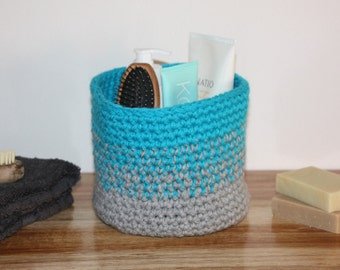 Medium Storage Basket - Grey and Blue Ombre - Crochet
