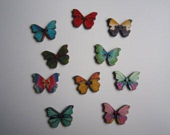 10 beautiful butterfly wooden buttons