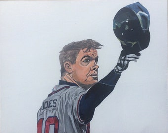 Orginal portrait Chipper Jones Atlanta Braves acrylic painting on a flat canvas