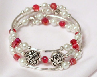 Red White and Heart Memory Wire Bracelet