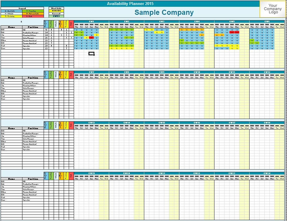 family    employee availability planner excel by templates4u