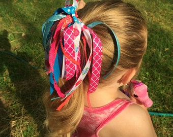 Teal and pink Hair Bow