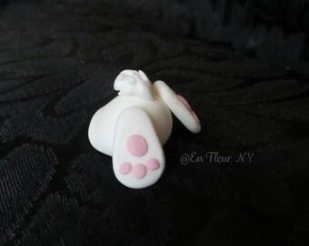 Six Handmade Gumpaste Bunny Bums! Cupcake Toppers
