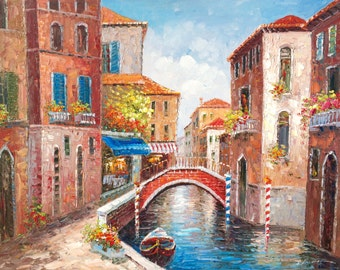 "Now On Sale. 36"" x 48""  Venice Canals.  Hand painted oil on canvas-stretched."