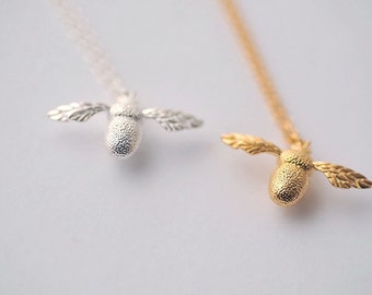 Necklace——925 Sterling Silver Bee Necklace, Silver Litter Bee Necklace