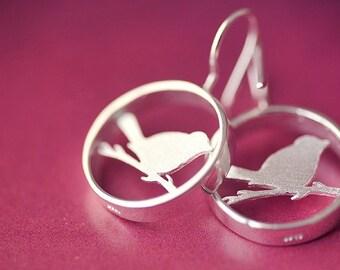 Earrings——925 Sterling Silver  Bird In Cage Earrings,Pure Handmade Bird on Branch Dangler