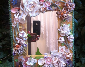 Unique Sea Glass Mirror with Seashell flowers