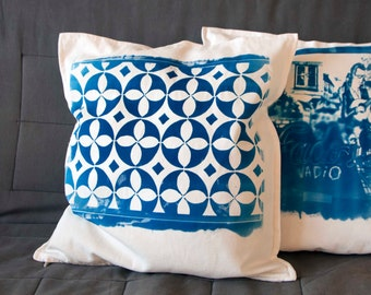 Hand printed pillow with portuguese tile pattern