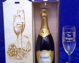 Personalized Single Bottle Champagne Box-Wedding Toasting gift-His and Hers gift-Mr. & Mrs. gift-Bride and Groom gift-Anniversary-Birthday
