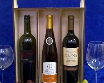 Wooden Personalized 3 bottle Tall Wine Box-Engraved Wine Box-Wedding Gift-Anniversary Gift-Wine Lover-Custom Wine Box-Holiday Gift Idea