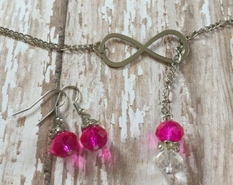 Silver/Pink Infinity Necklace and Earrings